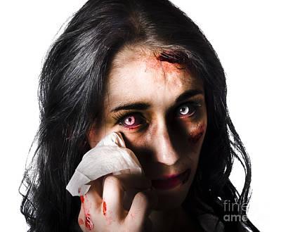 Tearful Woman With Injuries Art Print
