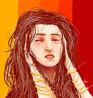 Digital Art - Tears And Fake Gold by Willow Schafer