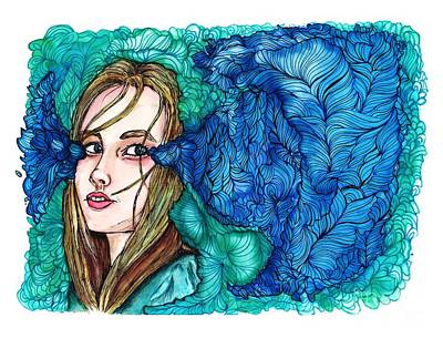 Ball Pen Work Mixed Media - Tears Are Her Happy Place  by Cherisha Norman
