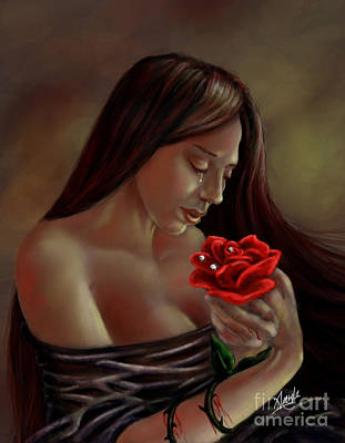 Art Print featuring the painting Tears, Blood, Diamonds by Amyla Silverflame