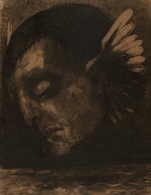 Wings Drawing - Tears by Odilon Redon