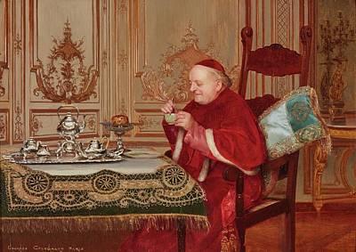 Teatime Painting - Teatime by Georges Croegaert