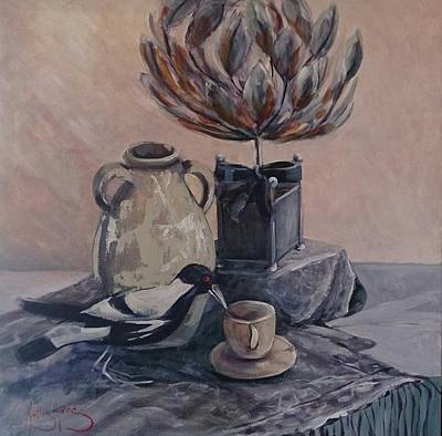 Painting - Teatime With Maggie by Kathy  Karas