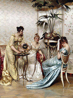 Pouring Painting - Teatime Tales by Joseph Frederic Charles Soulacroix