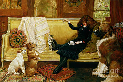 Cat Woman Painting - Teatime Treat by John Charlton
