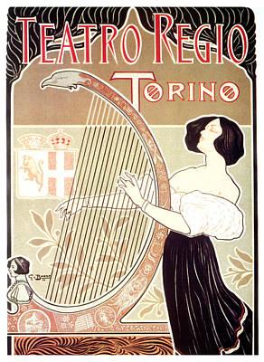 Mixed Media - Teatro Regio - Torino, Italy - Girl Playing A Harp - Vintage Art Nouveau Advertising Poster by Studio Grafiikka