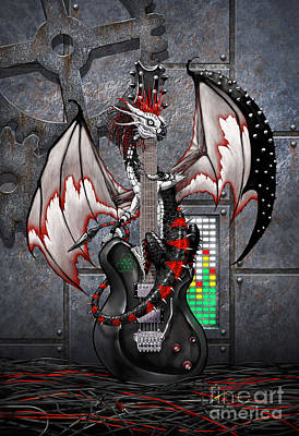 Goth Digital Art - Tech-n-dustrial Music Dragon by Stanley Morrison