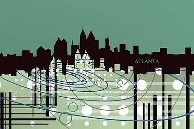 Atlanta Digital Art - Tech Skyline Over Geometric Shapes by Alberto RuiZ