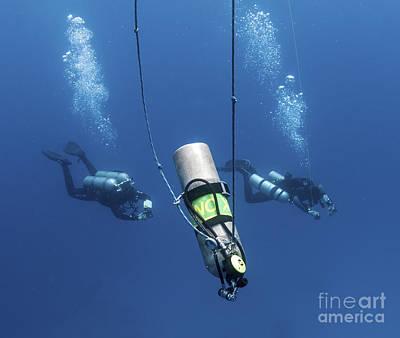 Technical Divers Ascend Near A Nitrox Print by Karen Doody