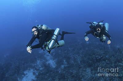 Technical Divers With Equipment Print by Karen Doody