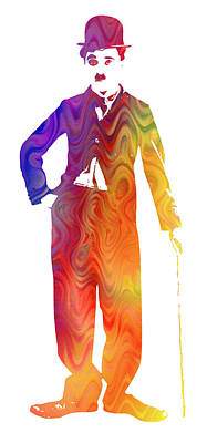 The Tramp Painting - Technicolor Charlie Chaplin by Gary Hogben