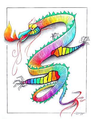 Technicolor Dragon -- Rainbow-colored Whimsical Dragon  Art Print by Jayne Somogy