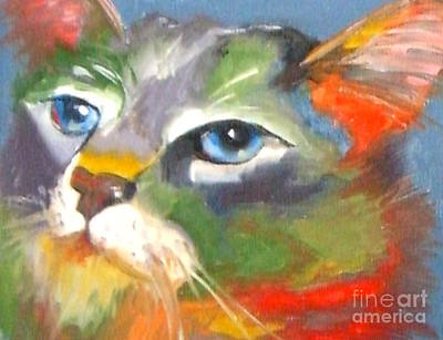 Technicolor Tabby Art Print by Susan A Becker