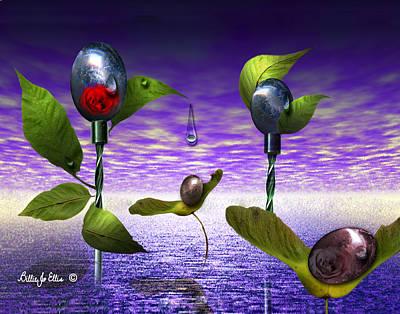 Techno Nature - Flower Drills Print by Billie Jo Ellis