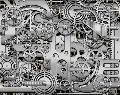 Techno Worlds - Complexity And Complications - Clockwork Silver Art Print by Serge Averbukh