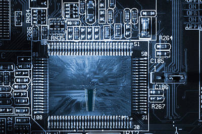 Art Print featuring the photograph Technology Concept, Giant Microchips by Christian Lagereek
