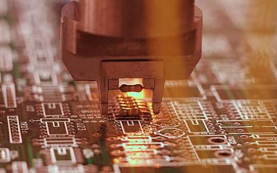 Microchip Digital Art - Technology Microchip In The Making                  by Fran Sotu