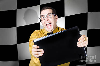 Technology Salesman Selling Laptop Computers Art Print by Jorgo Photography - Wall Art Gallery