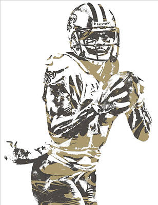 Mixed Media - Ted Ginn Jr New Orleans Saints Pixel Art 2 by Joe Hamilton