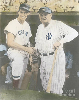 Ted Williams And Babe Ruth Art Print by Susan Bock