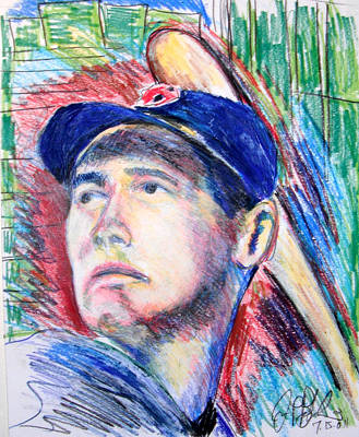 Ted Williams Boston Redsox  Art Print by Jon Baldwin  Art