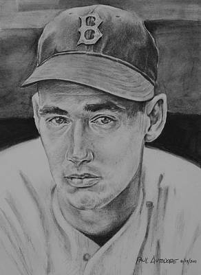 American Baseball Art Drawing - Ted Williams by Paul Autodore