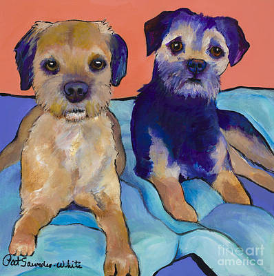 Pat Saunders-white Dog Painting - Teddy And Max by Pat Saunders-White