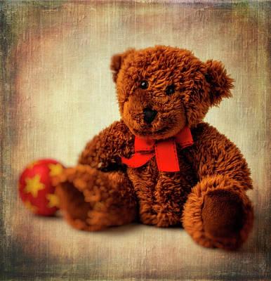 Teddy Bear And Ball Print by Garry Gay