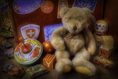 Color Block Photograph - Teddy Bear And Old Toys by Garry Gay