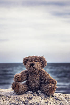 Sitting Bear Photograph - Teddy Bear At The Sea by Joana Kruse