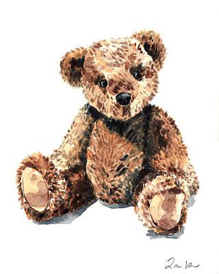 Teddy Bear Brown Bear Stuffed Animal Vintage Toy Steiff Art Print by Laura Row