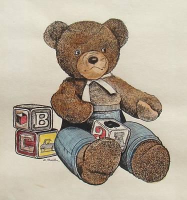 Fuzzy Drawing - Teddy Bear by Charles Roy Smith