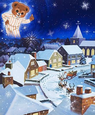 Night Time Painting - Teddy Bear Christmas Card by English School