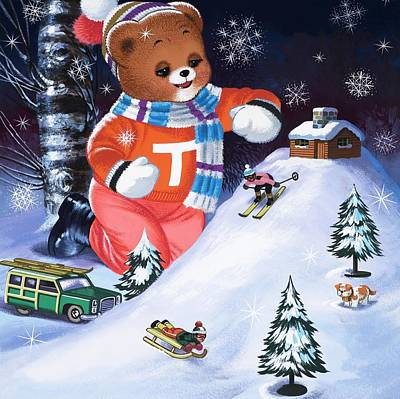 Ski Painting - Teddy Bear Christmas Card by William Francis Phillipps