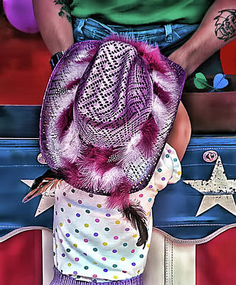 Barker Digital Art - Teddy Bear Hopes - Little Cowgirl At The Fair by Mitch Spence