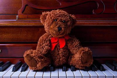 Piano Photograph - Teddy Bear On Piano Keys by Garry Gay