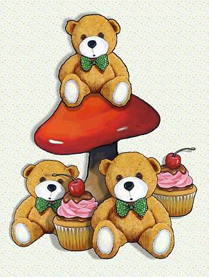 Painting - Teddy Bear Party With Toadstool And Cupcakes by Joyce Geleynse