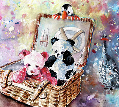 Painting - Teddy Bear Picnic In Wales by Miki De Goodaboom