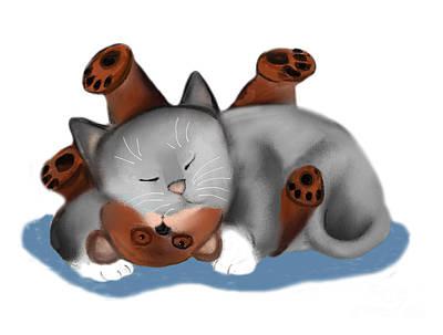 Digital Art - Teddy Bear Pillow For Gray Kitten by Ellen Miffitt