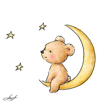 Baby Art Drawing - Teddy Bear Watching The Stars  by Anna Abramska