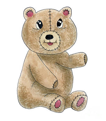 Painting - Teddy Bear Watercolor Painting by Valerie Garner