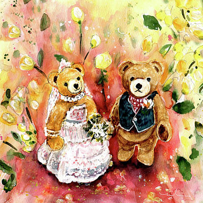 Painting - Teddy Bear Wedding At Newby Hall 02 by Miki De Goodaboom