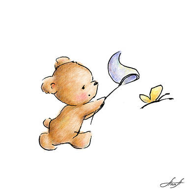 Baby Art Drawing - Teddy Bear With A Butterfly by Anna Abramska