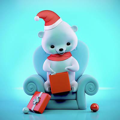 Teddy Bear Digital Art - Teddy Bear With Christmas Box Sitting On A Sofa by Oksana Ariskina