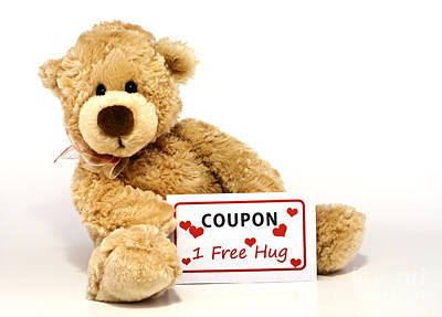 Sitting Bear Photograph - Teddy Bear With Hug Coupon by Blink Images
