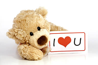 Adorable Photograph - Teddy Bear With I Love You Sign by Blink Images