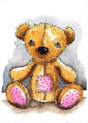 Teddy Bear Watercolor Painting - Teddy Bear With Patch by Lucia Stewart