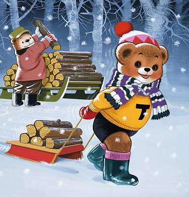 Scarf Drawing - Teddy Bears Collecting Wood by William Francis Phillipps