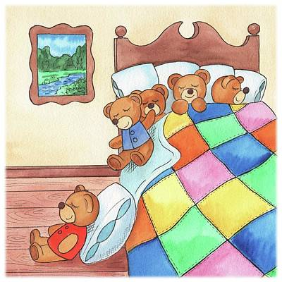 Teddy Bear Watercolor Painting - Teddy Bears In The Bed by Irina Sztukowski