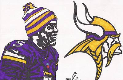 Drawing - Teddy Bridgewater  by Jeremiah Colley